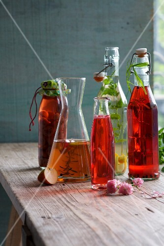 Various types of home-made vinegar in bottles