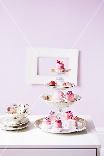 Petit fours on a homemade cake stand