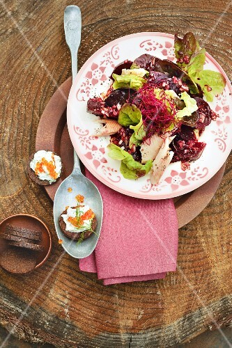 Oak leaf lettuce with beetroot and smoked trout