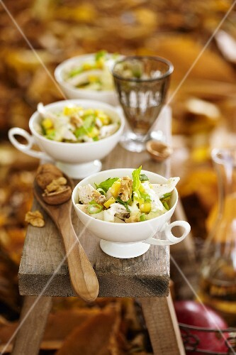 Chicken salad with mango and walnuts