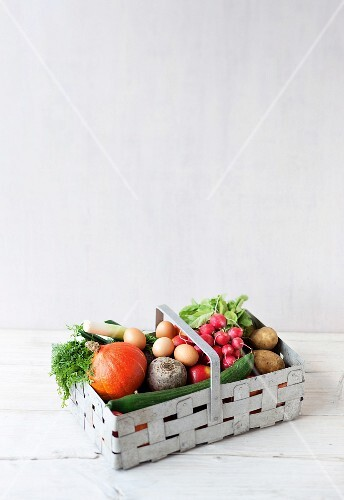A basket of vegetables and eggs