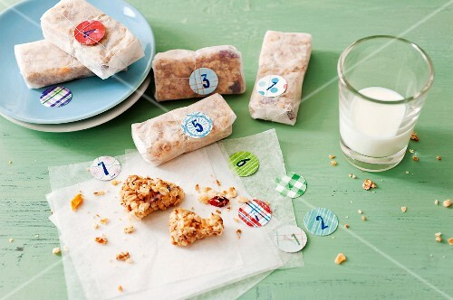 Homemade muesli bars with fruits as a gift
