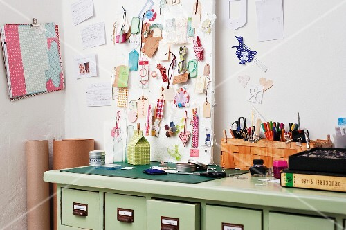 A craft corner with utensils for wrapping presents
