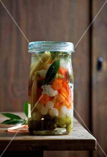 A jar of mixed pickles