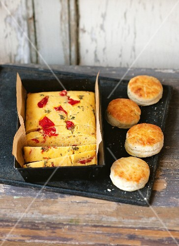Herb scones and corn bread with chilli