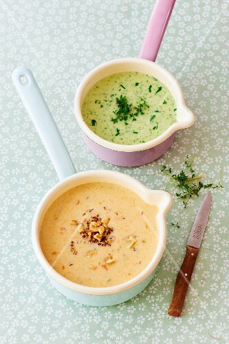 Herb soup and lentil soup with walnuts