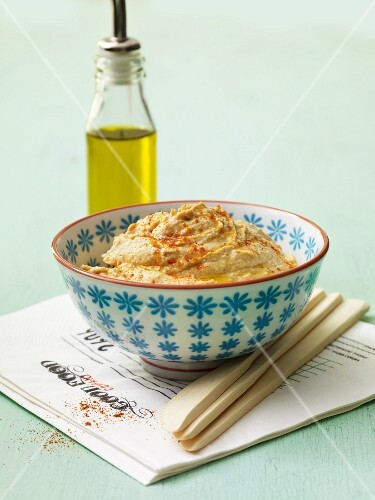 Hummus in a small bowl