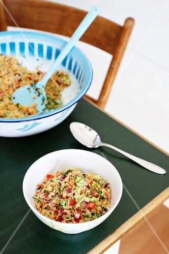 Tabbouleh on a kitchen table