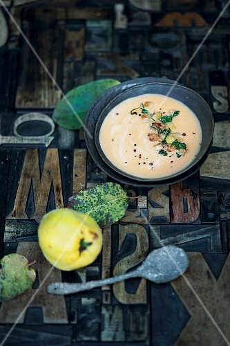 Quince and sweet potato soup
