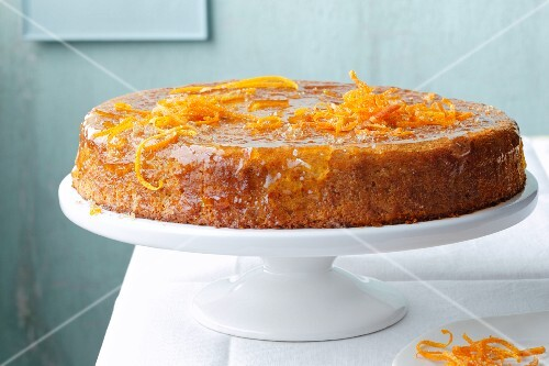 Almond cake with sea buckthorn and orange zest