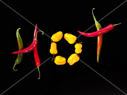 The word HOT written in chillies