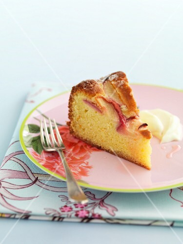 A slice of peach and syrup cake