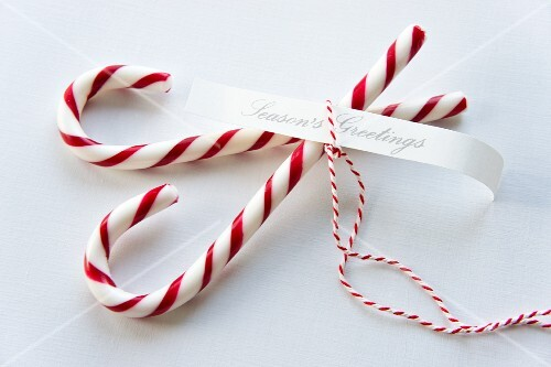 Candy canes with a gift ribbon