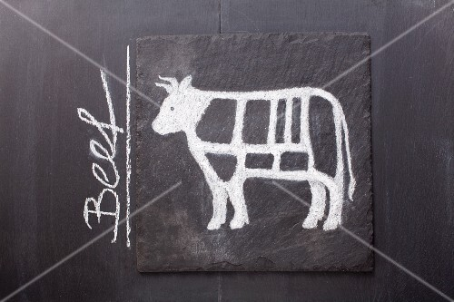A sketch of a cow on a chalkboard