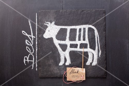 A sketch of a cow and a label with the word 'Beef' drawn on a chalkboard