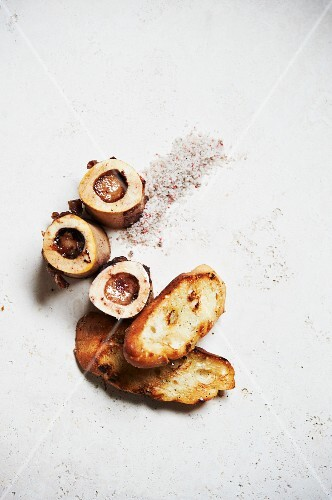 Roasted Beef Marrow Bones with Slices of Toasted Bread; From Above
