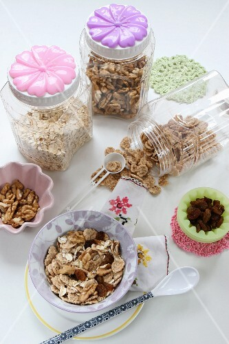 Various cereals and nuts for muesli