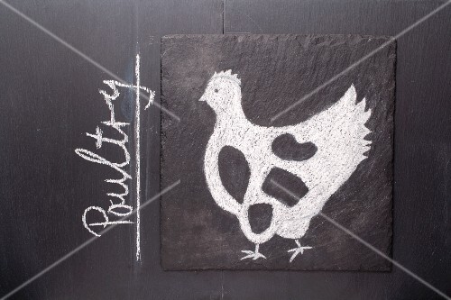 A sketch of a chicken on a chalkboard