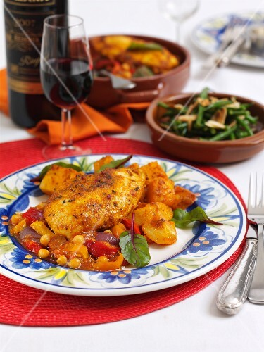Spanish chicken with pepper and sweetcorn