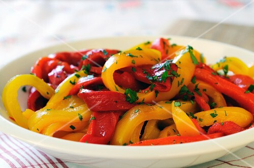 Red and yellow marinated pepper