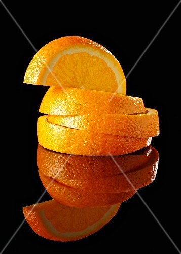 A stack of orange slices