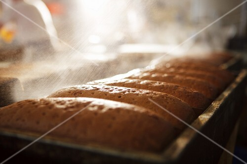 Loaves of bread being sprayed with water