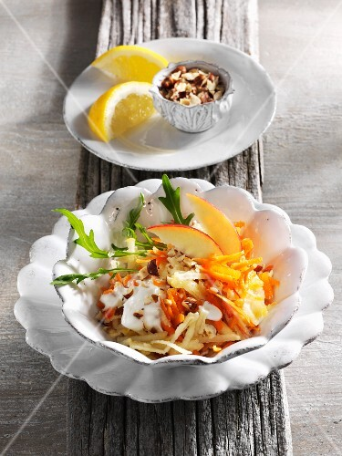Apple and carrot salad with hazelnuts