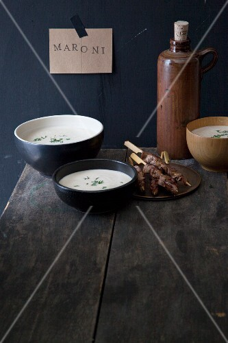 Chestnut soup with meat kebabs