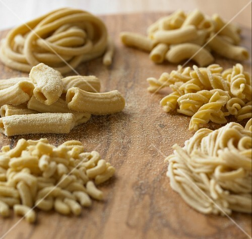 Assorted Types of Fresh, Uncooked Pasta