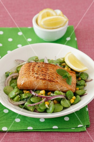 Grilled salmon fillet on a bed of bean and sweetcorn with red onions