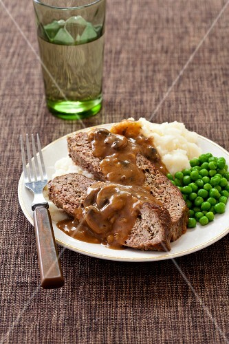 Meatloaf with Mushroom Gravy, Mashed Potato and Peas