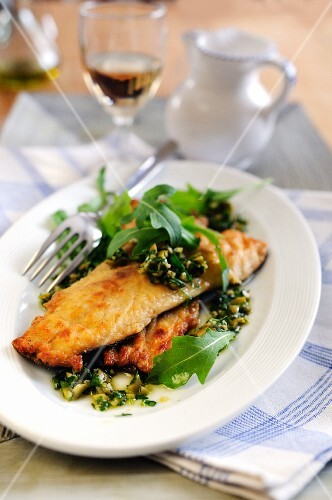 Trout filets with green olive and caper pesto