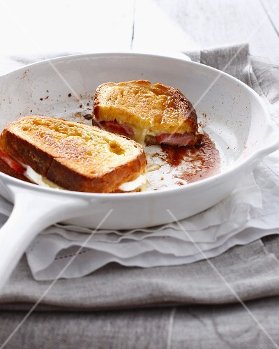 Pan of strawberry cheese sandwich