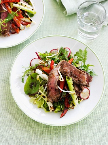 Plate of beef and radish salad
