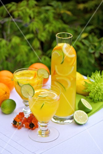 Citrus fruit punch on a garden table
