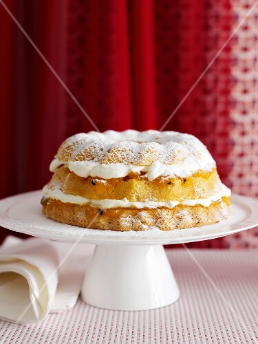 Platter of layered sponge cake
