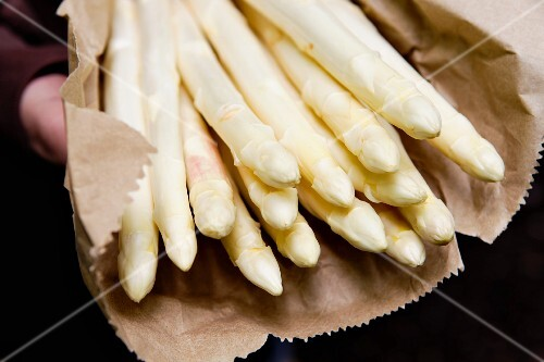 White asparagus in a paper bag