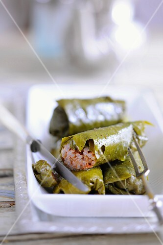 Vine leaves filled with peppermint rice