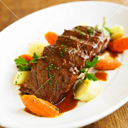 Sliced Pot Roast with Roast Carrots and Potatoes