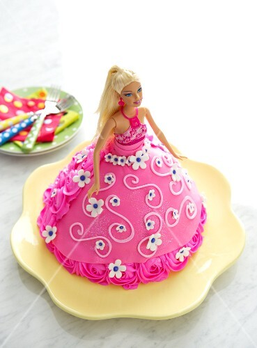 Child's Doll Cake Decorated with a Pink Dress
