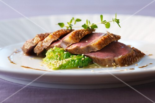 Duck breast with steamed Chinese cabbage