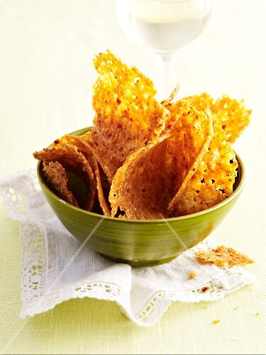Chilli and Gouda crisps in a bowl