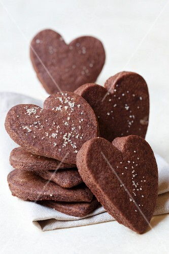 Heart-shaped chocolate shortbread biscuits