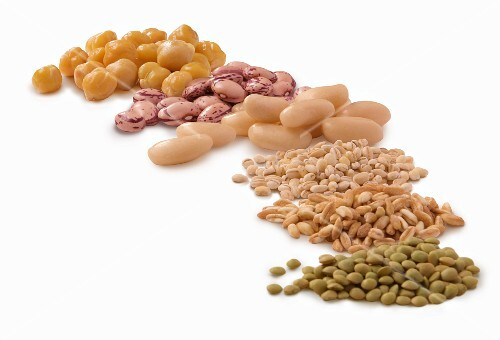 Various legumes and barley