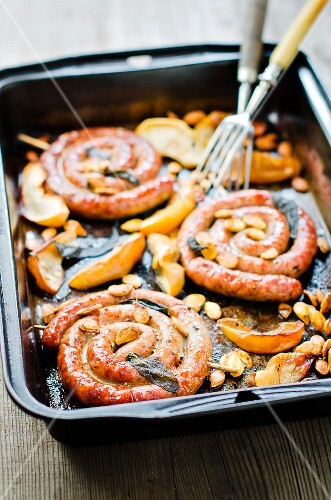 Coiled sausages with apple, sage and pumpkin seeds