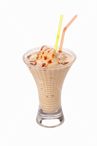 A caramel shake with two straws