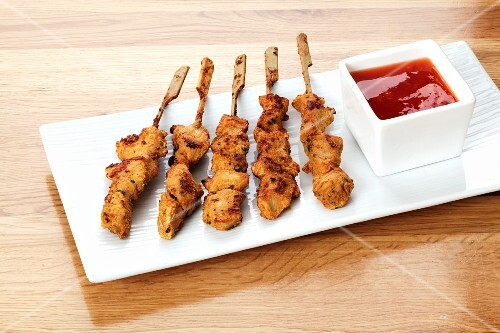 Chicken kebabs with barbecue sauce