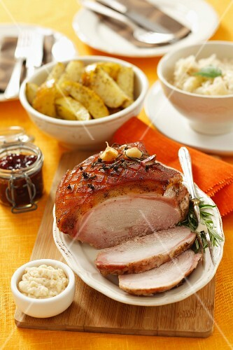 Roast ham with side dishes