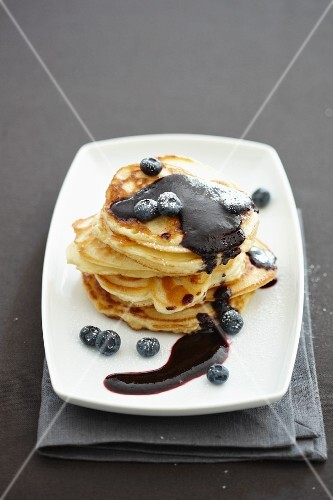 Apple pancakes with blueberries