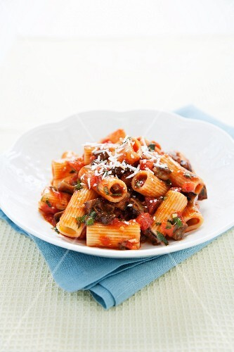 Pasta Alla Norma in a White Bowl